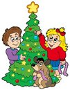 Two kids decorating Christmas tree Royalty Free Stock Photo