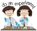 Two kids doing experiment in science lab