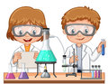 Two kids doing science experiment in class