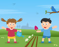 Two Kids Gardening Royalty Free Stock Photos