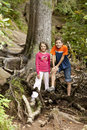 Two kids hiking Stock Images