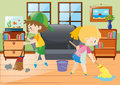 Two kids mopping and sweeping floor