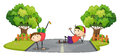 Two kids playing in the middle of the road illustration on a white background Stock Image