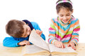 Two kids reading the book Royalty Free Stock Image
