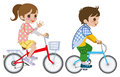 Two kids riding bicycle isolated illustration of who Royalty Free Stock Images