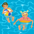 Two kids in water cheerful swimming the pool or the ocean Royalty Free Stock Photos