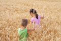 Two kids on a wheat field Royalty Free Stock Photos