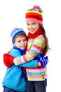 Two kids in winter clothes Stock Photography