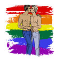Two kissing gays Royalty Free Stock Photo