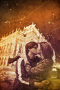 Two kissing in Praha, Czech Republic at night. Royalty Free Stock Photo