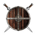 Two knight swords behind wooden round shield isolated Royalty Free Stock Photo