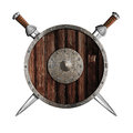 Two knight swords and wooden round shield isolated Stock Photography