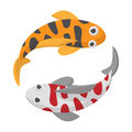 Two koi fishes icon, cartoon style Royalty Free Stock Photo