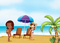 Two ladies wearing bikini s at the beach illustration of Royalty Free Stock Photo