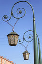 Two lanterns of italian bridge saint petersburg russia Royalty Free Stock Photo