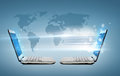 Two laptop computers with world map hologram Royalty Free Stock Photo