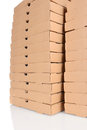 Two Large Stacks of Pizza Boxes Stock Photography