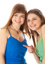 Two laugh teenage girls Stock Image
