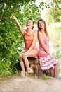 Two laugh teenage girls Royalty Free Stock Photography