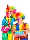 Two laughing clowns Stock Images