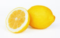 Two lemons on white Stock Images