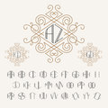 Two letters monogram template in outline style. Set of letters from A to Z.