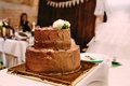 The two-level chocolate wedding cake is decorated with white flowers and stands on the golden stand, on the white table. Royalty Free Stock Photo