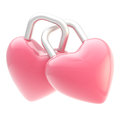 Two linked heart shaped locks isolated Royalty Free Stock Images