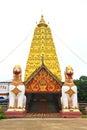Two lion guard statues in thai temple sangklaburi kanchanaburi thailand Royalty Free Stock Photo