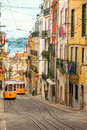 Two lisbon s gloria funiculars portugal europe yellow historic Royalty Free Stock Image