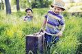 Two litle brothers starting the journey cute Royalty Free Stock Photography