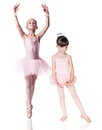 Two little ballerina girls practiced Royalty Free Stock Photo