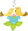Two little birds singing Stock Photos