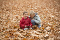 Two little boys in autumn park brothers play together sitting on ground outdoor Stock Photo
