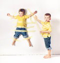 Two little brothers having great fun Royalty Free Stock Images