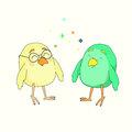 Two little funny birds Royalty Free Stock Photo