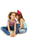 Two little girls are chatting Royalty Free Stock Photo