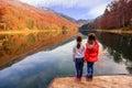 Two little girls enjoying the view of Lake Biograd (Biogradsko j Royalty Free Stock Photo