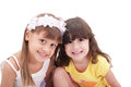 Two little girls isolated over white Stock Photography