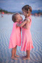 Two little girls at tropical beach in Philippines Royalty Free Stock Photo