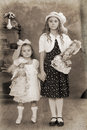 Two little girls Vintage Photograph Royalty Free Stock Image