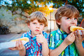 Two little kid boys eating hot dogs outdoors Royalty Free Stock Photo