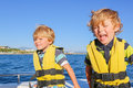 Two little kid boys enjoying sailing boat trip Royalty Free Stock Photo