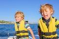 Two little kid boys enjoying sailing boat trip Royalty Free Stock Photo