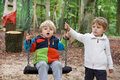 Two little sibling boys having fun  in autumn forest with swing Royalty Free Stock Photo