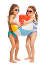 Two little swimmers catching big wind-ball Royalty Free Stock Photo