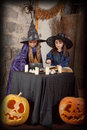 Two little witches Royalty Free Stock Images