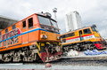 Two locomotives parking alsthom and old g e locomotive at bangkok train area at bangkok thailand Stock Photos