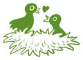 Two love birds in their nest illustration of the on a white background Stock Image