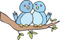 Two lovebirds on a branch blue bird and pink bird in love sat Stock Photos